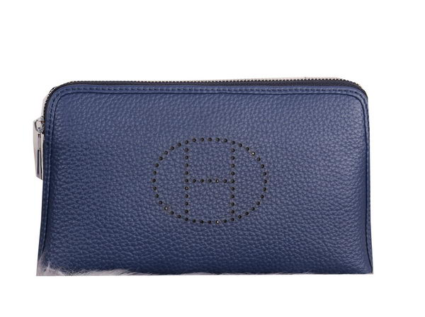 Hermes Grainy Leather Clutch H2281 Blue