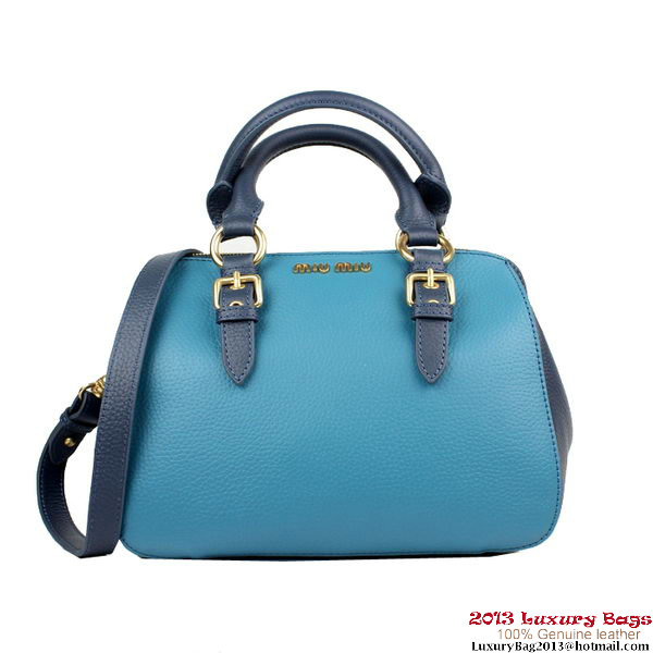 miu miu Clemence Leather Top-Handle Bag RL0058 Blue