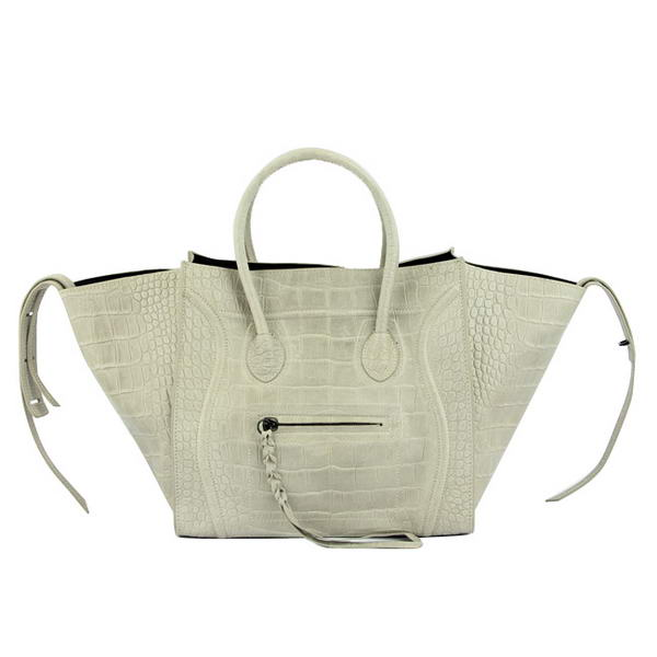 Celine Luggage Phantom Square Bags Crocodile Leather 80078 Grey