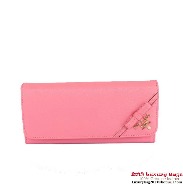 Prada Saffiano Calf Leather Bow Wallet 1M1132S Pink