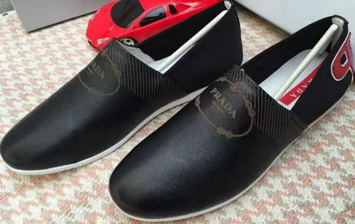 Prada Casual Shoes Calfskin Leather PD384 Black