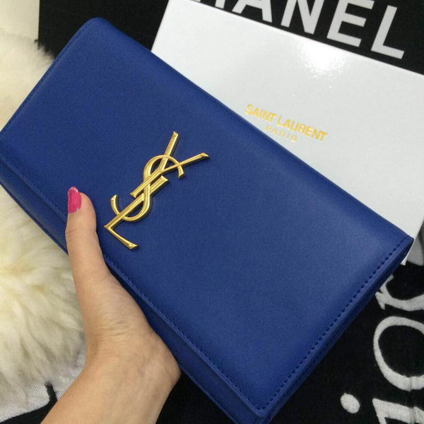 Yves Saint Laurent Classic Monogramme Clutch 30210 Blue