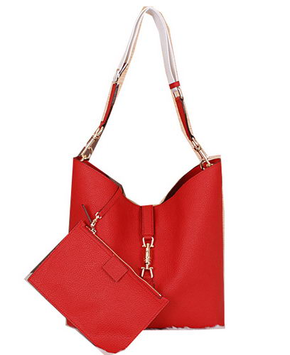 Gucci Jackie Grainy Leather Hobo Bag G3525 Red