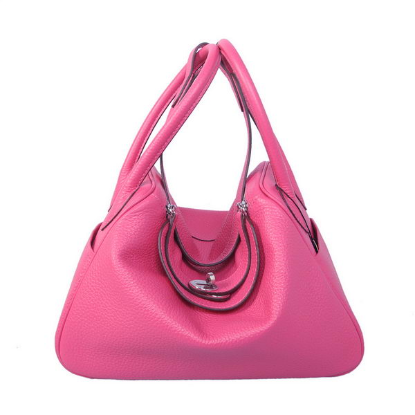 Hermes Lindy 30CM Rose Grainy Leather Havanne Shoulder Bag