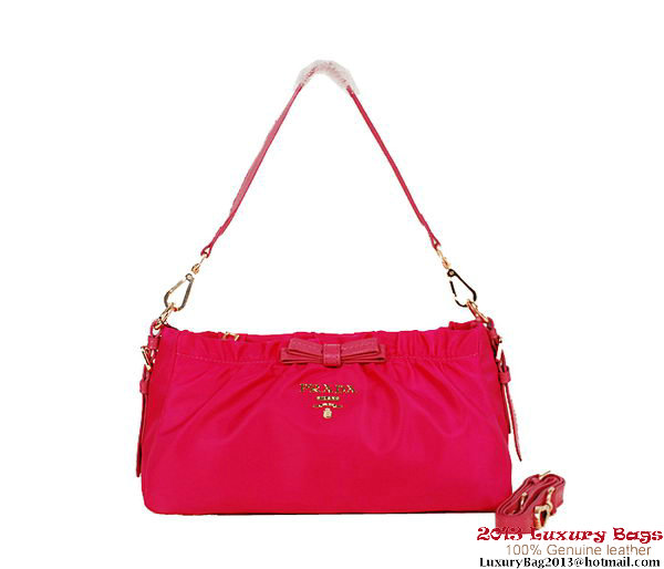 Prada Nylon Fabric Shoulder Bag BN1561 Rose