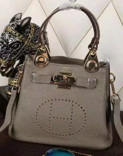 Hermes Evelyne Tote Bag Calfskin Leather HS23 Grey