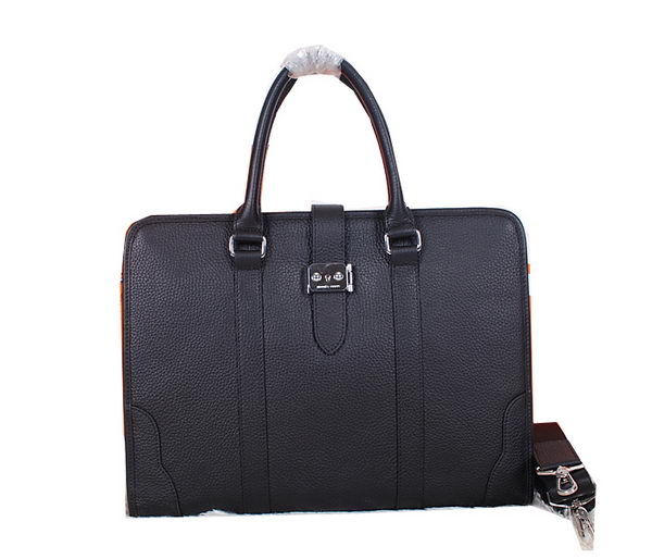 Hermes Briefcase Grainy Leather H88135 Black