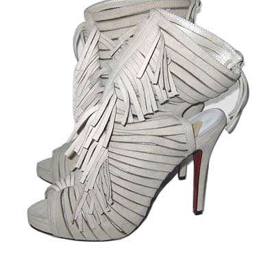 Christian louboutin fringed open toe ankle booties white
