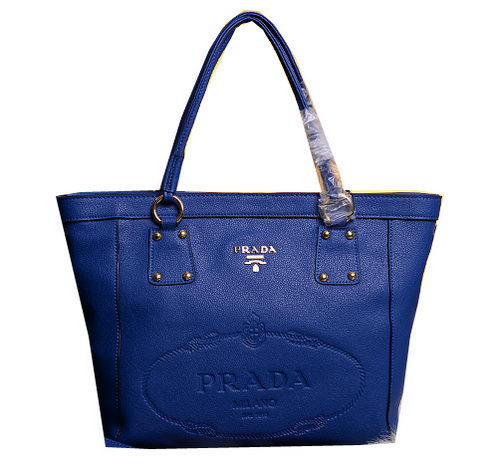 Prada Calfskin Leather Tote Bag BN3814 Blue