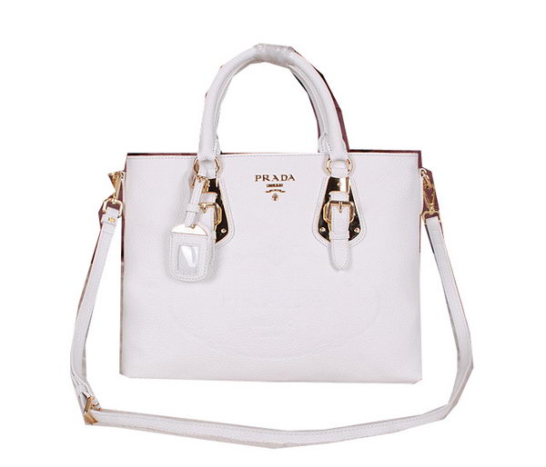 Prada Calfskin Leather Tote Bag BN2645 White