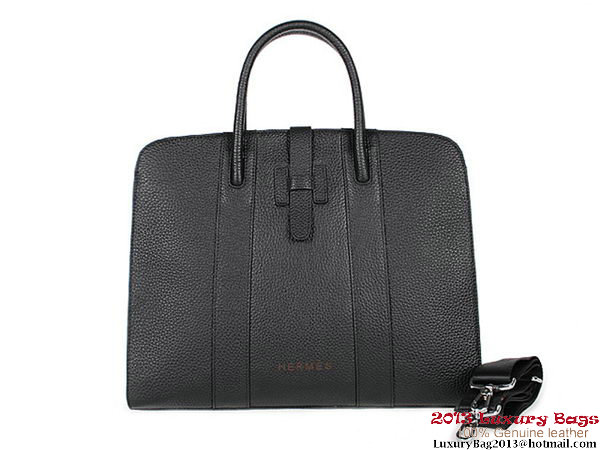 Hermes Mens Briefcase Calf Leather 9396-5 Black