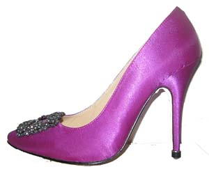 Manolo Blahnik Something Purple Satin Pump