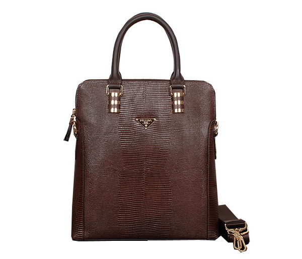 Prada Lizard Vein Calf Leather Tote Bag 50372 Brown