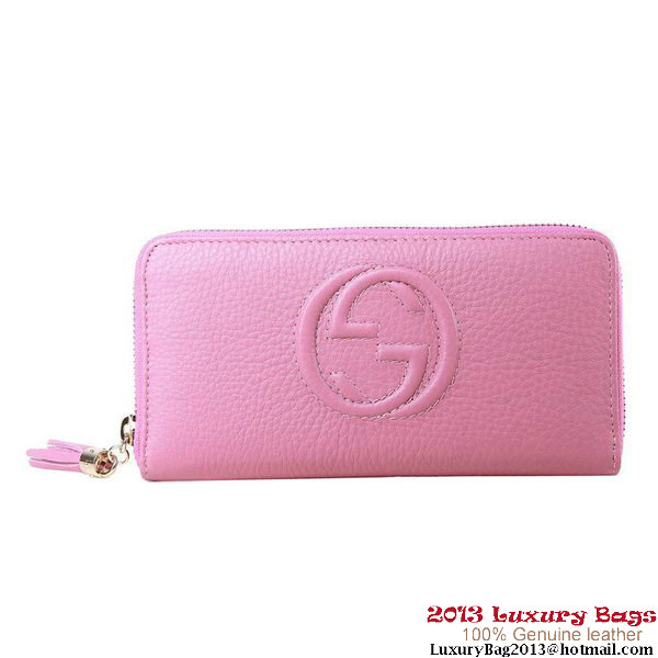 Gucci Interlocking G Zip Around Wallet 282413 Light Pink