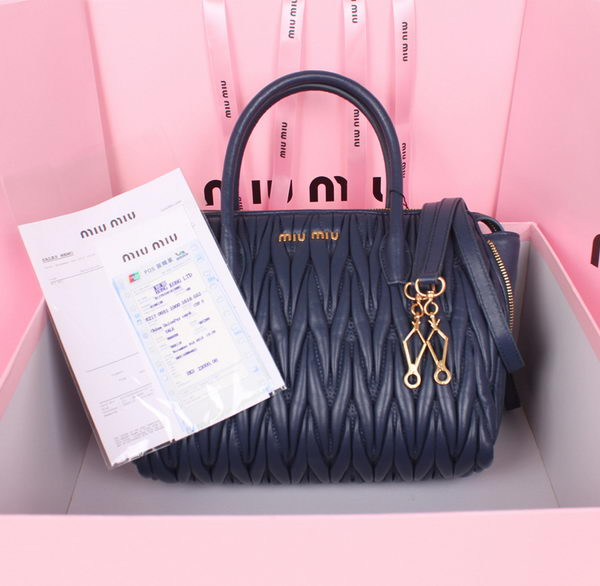 miu miu Matelasse Nappa Leather Top Handle Bag RN1016L RoyalBlue