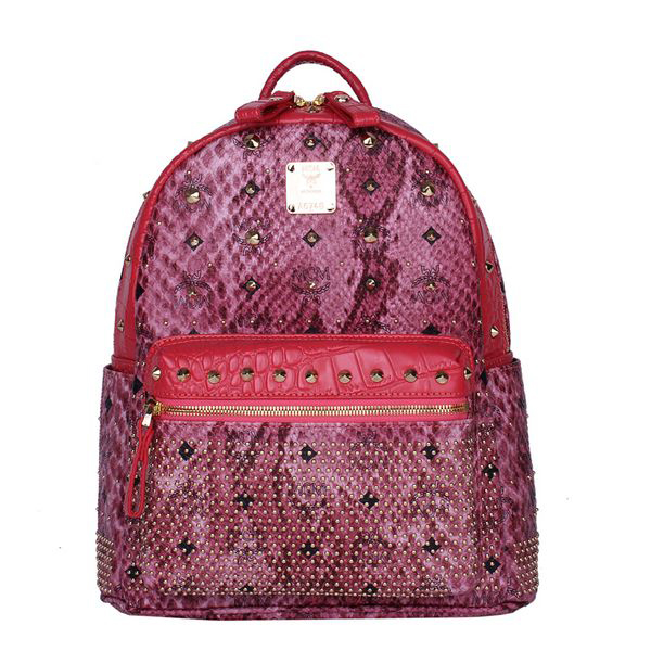 MCM Armour Small Backpack Snake Leather MC2095S Rose