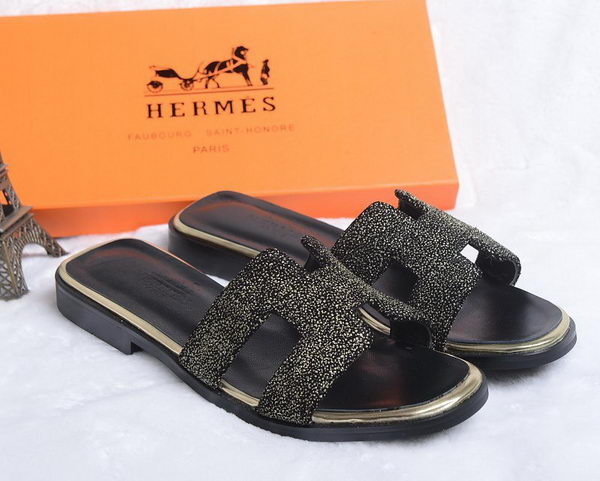 Hermes Slipper Suede Leather HO0447 Black