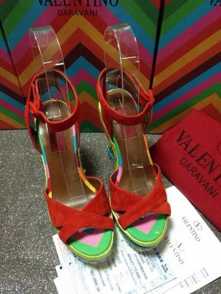 Valentino Wedge Heel Sandals Suede Leather VT494 Red