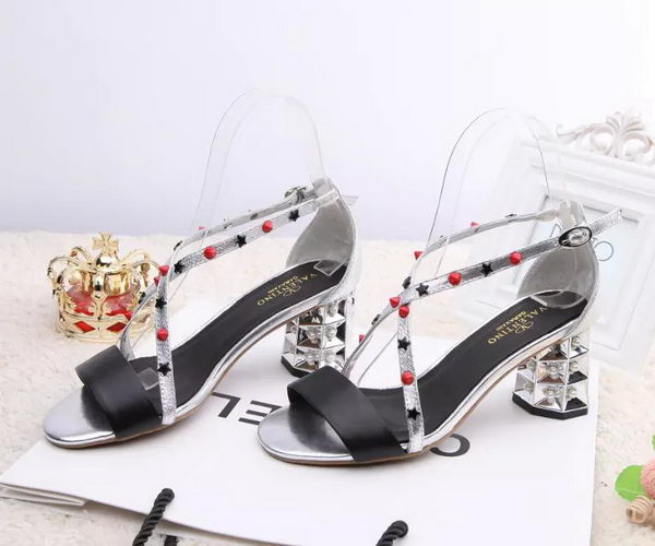 Valentino Sandals Leather VT454 Silver&Black