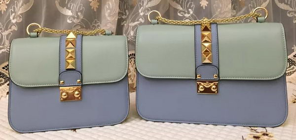 Valentino Garavani Shoulder Bag Calfskin VO617 Blue&Yellow&Pink