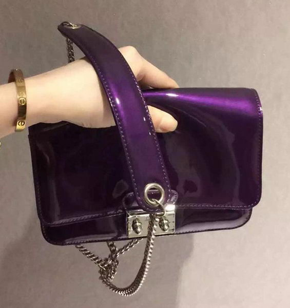 DIOR Flap Shoulder Bag Patent Leather CD5503 Purple