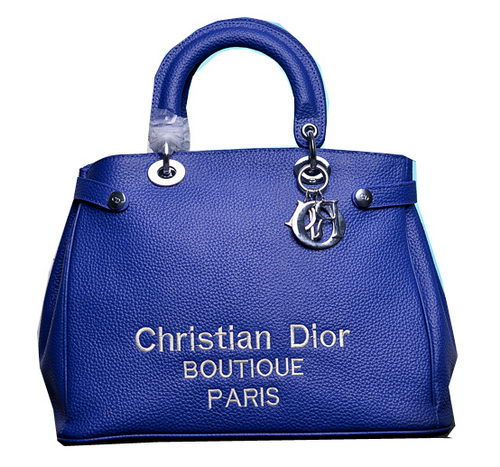 Dior Shish Tote Bag Grainy Calfskin Leather D9691 Blue