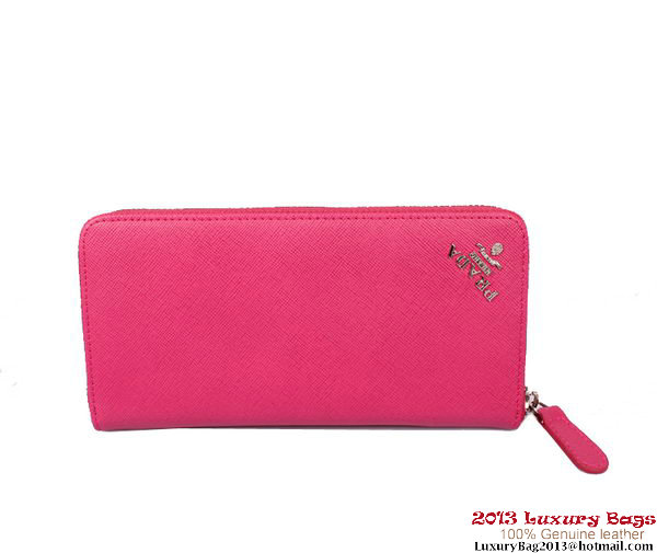 Prada Saffiano Calf Leather Wallet PR1178 Rose