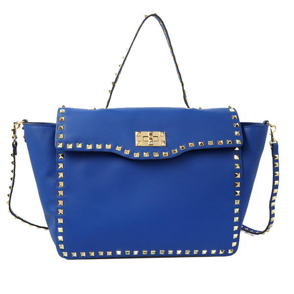 Valentino Garavani Rockstud Tote Bag in Calfskin Leather V1918 Blue
