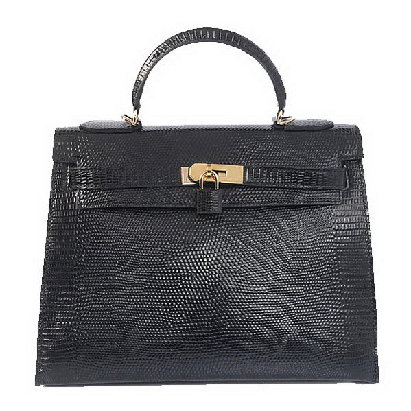 Hermes Kelly 32cm Shoulder Bags Black Lizard Leather Gold