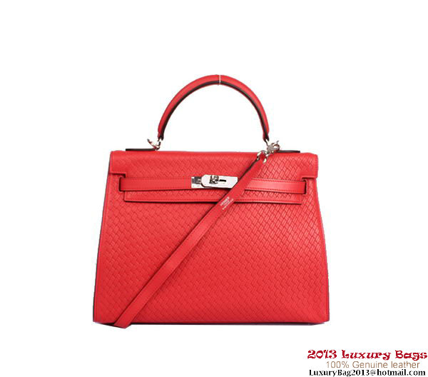 Hermes Kelly 32cm Top Handle Bag Light Red Woven Leather Silver