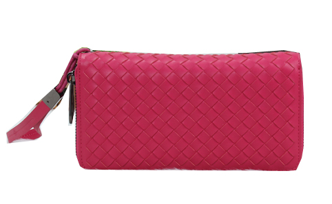 Bottega Veneta Intrecciato Nappa Zip Around Wallet BV6818 Rose