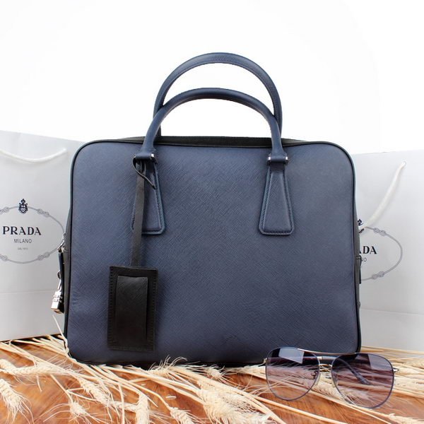 PRADA Saffiano Leather Briefcase VS0305 RoyalBlue&Black