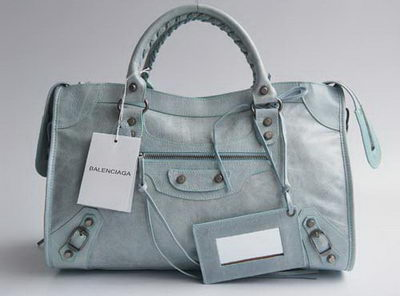 Balenciaga cow leather bag light blue 084332