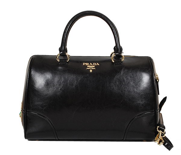 PRADA Shiny Leather Two Handle Bag BL0822 Black