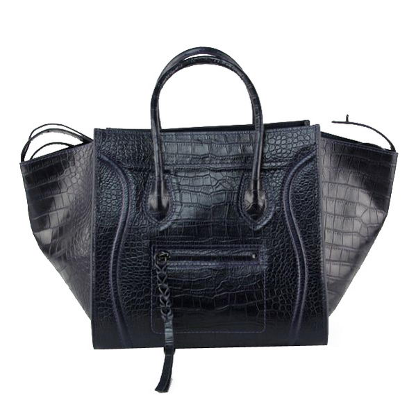 Celine Luggage Phantom Shopper Bags Croco Leather 16995 88033 Dark Blue