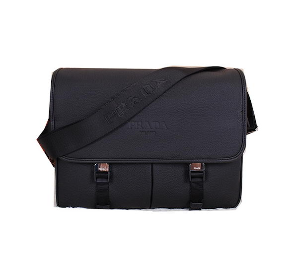 Prada Grainy Leather Messenger Bag VA0768 Black
