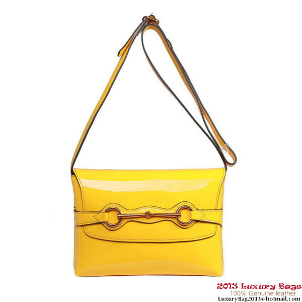 Gucci Bright Bit Patent Leather Shoulder Bag 317636 Yellow