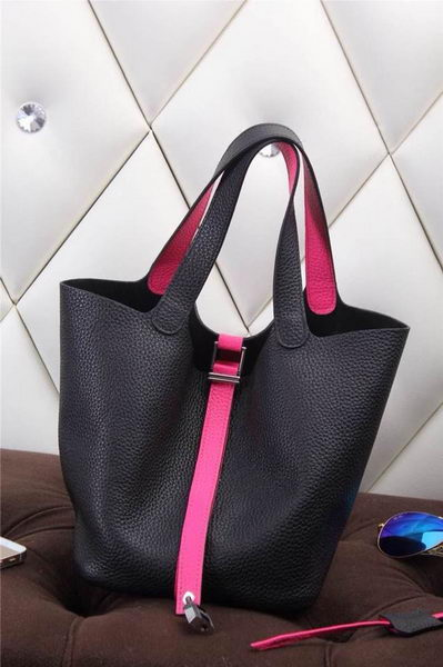 Hermes Picotin Lock MM Bag in Grainy Leather H610M Black&Rose
