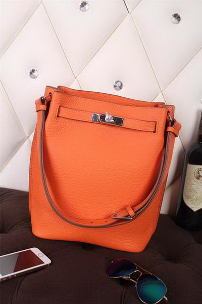 Hermes So Kelly Hobo Bag Original Leather Orange
