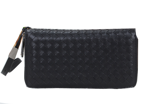 Bottega Veneta Intrecciato Nappa Zip Around Wallet BV6818 Black