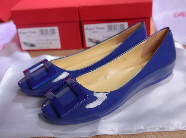 Roger Vivier Patent Leather Flat RV271 Blue