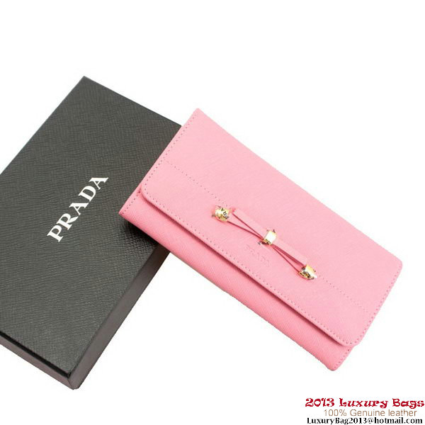 Prada Saffiano Leather Bow Wallet 1M1134 Pink
