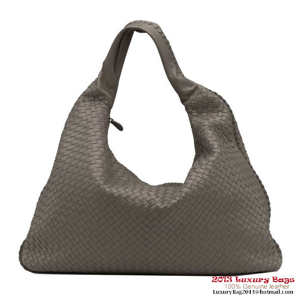 Bottega Veneta 181140 V0016 2873 Intrecciato Nappa Maxi Veneta Hobo Bag Steel