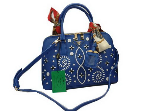 Prada Weave Leather Top Handle Bags BL0837A Blue