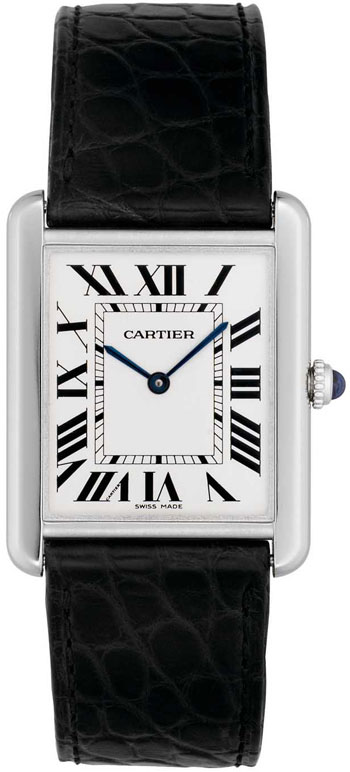 Cartier Tank Solo Fashionable 18k White Gold Mens Swiss Quartz Wristwatch-W1018355