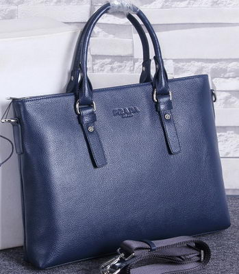 Prada Litchi Calf Leather Briefcase PF5835 Royal