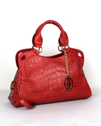 Cartier Marcello De Cartier Crocodile Leather Handbag 1000625 Red