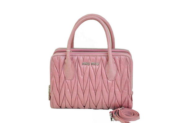 miu miu Matelasse Waxed Shiny Calf Leather Three-pocket Bag RN0951 Light Pink
