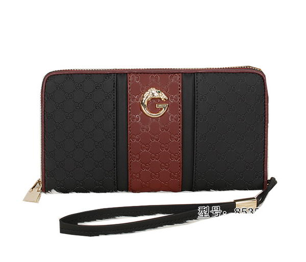 Gucci Guccissima Leather Zip Around Wallet 8535 Maroon&Gold