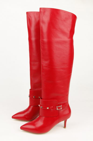 Valentino Knee Boots 65MM Heels Sheepskin Leather VT198 Red